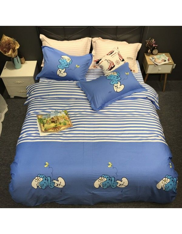 All cotton active 13372 cotton 4-piece set double large cartoon 4-piece set all cotton printed bed sheet and quilt cover